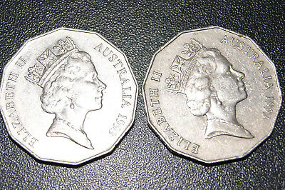 1993 Australian 50 cent Coin Low Mintage 50c Scarce coin X 2