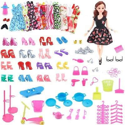 80 Pcs Items For Barbie Doll Dress,Shoes,Jewellery Clothes Set Accessories UK