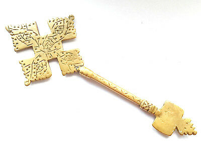 Antique Ethiopian Rare Processional Coptic Cross Orthodox Hand Made Brass