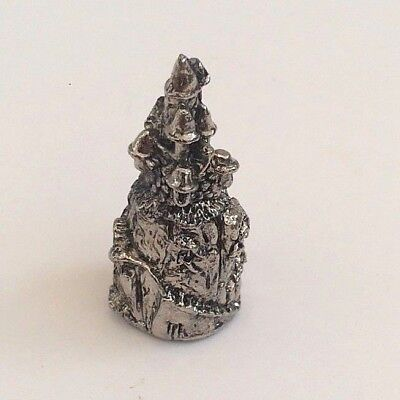 "Vtg Miniature Metal Figurine Pewter Look Collect 1.5"" Castle Fairy Cottage NEW"