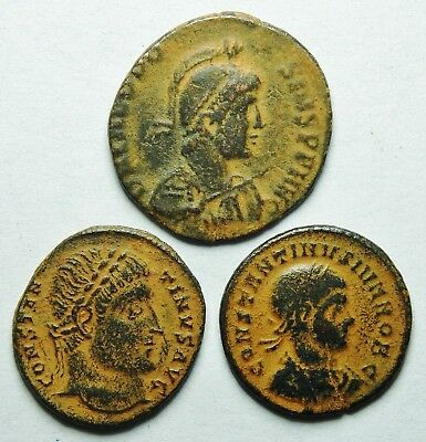 Interesting Selection Of Three Roman Bronze Coins (198H)