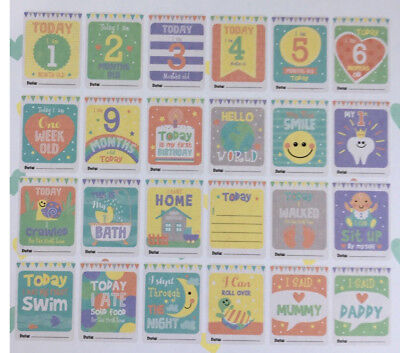 24 x Baby Milestone Cards ~ 1st Year Memorable Moments Boy Girl Unisex  *NEW*