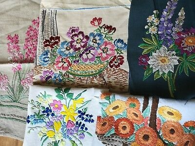 5 X Vintage Embroidered Detailed Floral Panels For Repurposing Lupins Daffodil