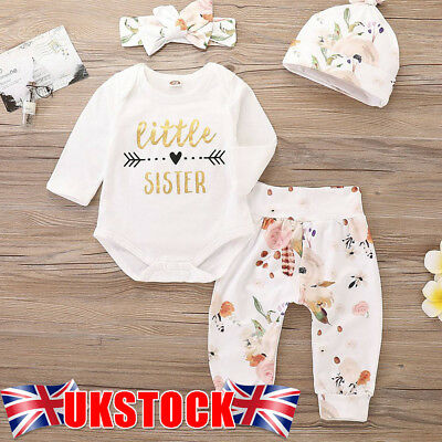 Newborn Baby Girl Little Sister Romper Hat+Top+Legging Jumpsuit Clothes Outfit