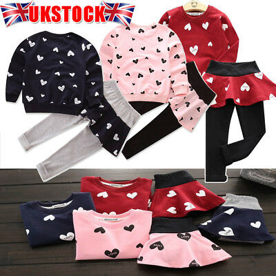 Kids Baby Girls Heart Sweat Shirt Tops Long Pants Skirt Dress Outfit Clothes