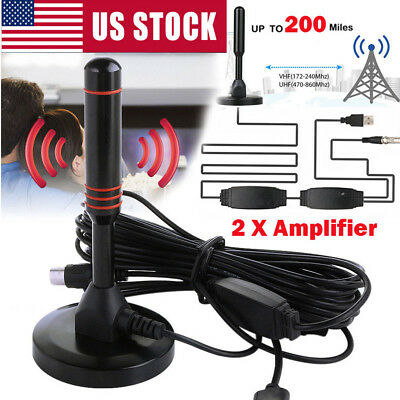 200 Mile Range Antenna 1080P TV Digital HD Skywire TV Indoor 4K 16ft Coax Cable
