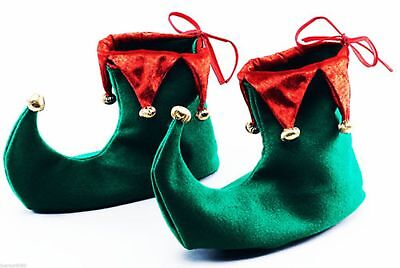 Adult Green and Red Elf Jester Pixie Shoes Boots Christmas Fancy Dress Costume
