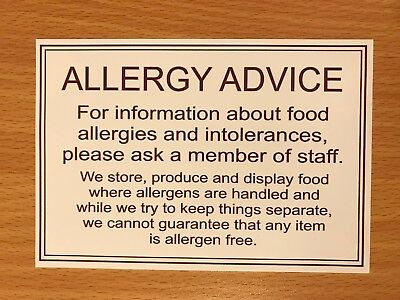 Food Allergy Advice Sticker Sign We Can't Guarantee Cafe Restaurant Takeaway