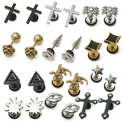 Mens PAIR Stainless Steel Stud Earrings Pair Design Screw back  Womens Girls Boy