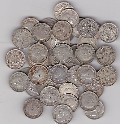 50 Silver Three Pence Coins Dated Between 1920 To 1941 In Used Fine Or Better