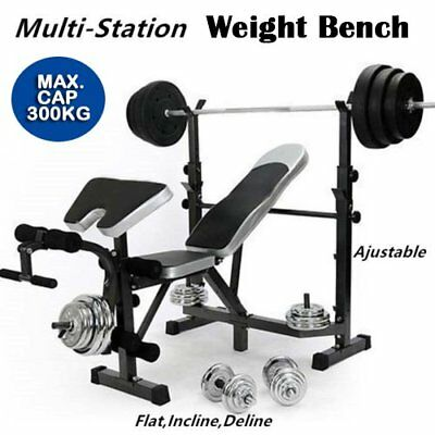 Multi-Station Weight Bench Press Fitness Weights Equipment Curl Incline Home Gym