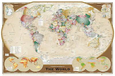 World Map Tripel Projection Educational Maps Maxi Poster Print 61x91.5cm | 24x36