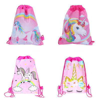 Kids Cute Unicorn Drawstring Schoolbag Backpack School Sport Bag Christmas Gifts