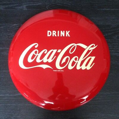 "Coca-Cola 16"" Vintage Red Disc Sign Bottle Cap NOS Button Sign"
