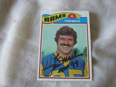 Tom Mack Signed Autograph Card 1977 Topps Football Rams