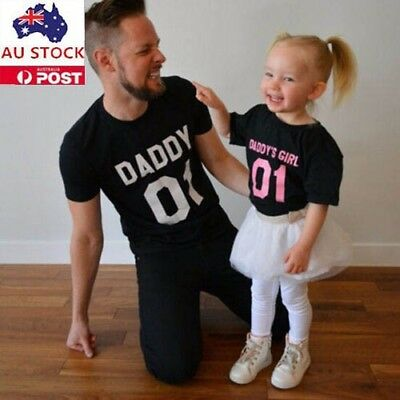 Daddy&Daughter Letter Print Shirt Family Clothes Summer Casual Clothes AU Stock