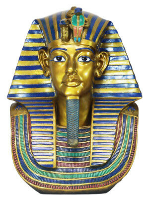 """Ancient Egyptian Large King Tut Burial Mask Replica 19""""H Pharaoh Figurine Bust"""