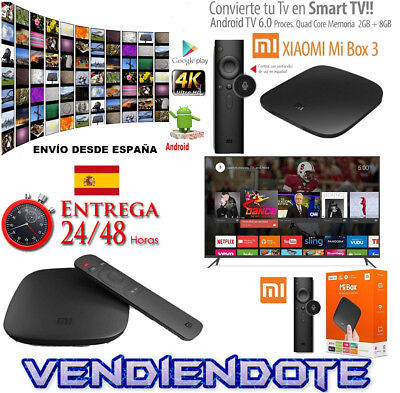 Smart Tv Xiaomi Mi Box 3 4K HDR Android 6.0 Internet Wifi Bluetooth IPTV 2GB/8GB