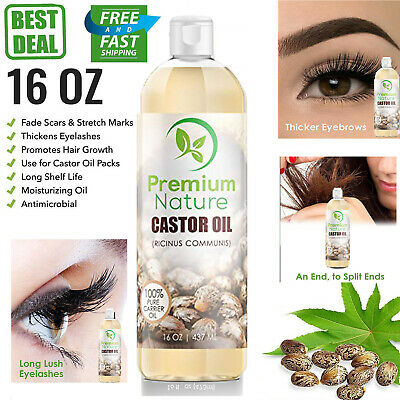 CASTOR OIL 100% Pure 16oz Organic Cold Pressed Eyelashes Eyebrows Hair Skin  Oil