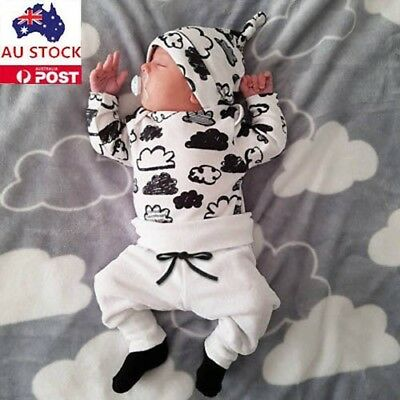 Unisex Newborn Infant Baby Boys Girls Cotton Cartoon Outifits Clothes AU Stock