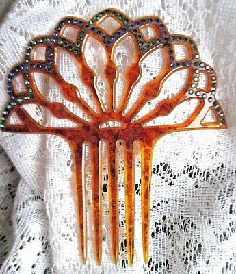Stunning Antique Victorian Celluloid Hair Comb with Blue & Green Rhinestones