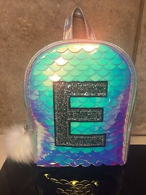 "NWT Justice ""Initial"" Mermaid Scale Mini Backpack Choose Letter C O S K E"
