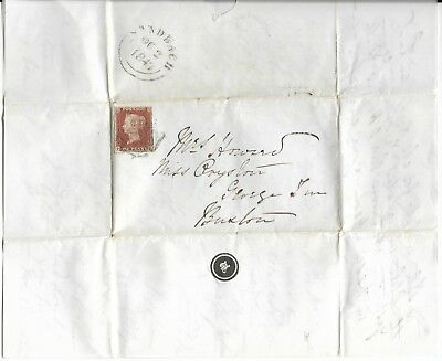 Victorian Cover with Letter and Imperf Penny Red, 1843