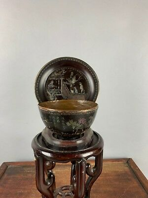18th/19th C. Chinese Mother-Of-Pearl Inlaid Black Lacquer Tea Cup And Tray