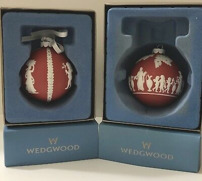 Lot of 2 WEDGWOOD Salmon Japer Christmas Tree Ornaments w/Boxes - MAKE OFFERS