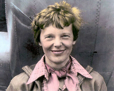 """AMELIA EARHART AVIATION PIONEER PILOT AUTHOR 8x10"""" HAND COLOR TINTED PHOTOGRAPH"""