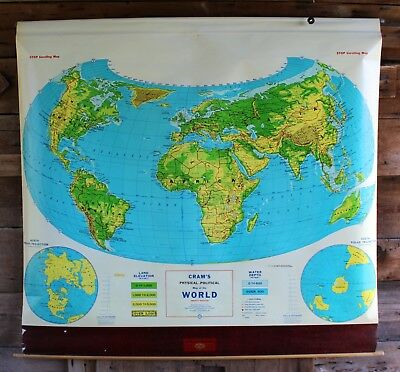 Mid Century Modern Vtg Old Political School World Map Wall Art Roll Drown Cram's