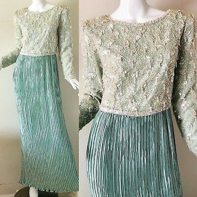 Vintage 80s Cache George F Couture Glass Beaded NWT Party Evening Dress Gown 10