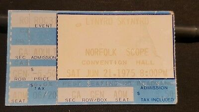 1975 Lynyrd Skynyrd Norfolk Concert Ticket Stub Nuthin' Fancy Tour Ron Van Zant
