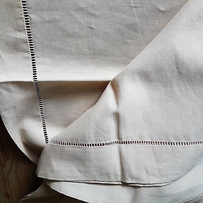Antique linen sheet French Origin Drawn Thread Edge Finest Quality Large Double