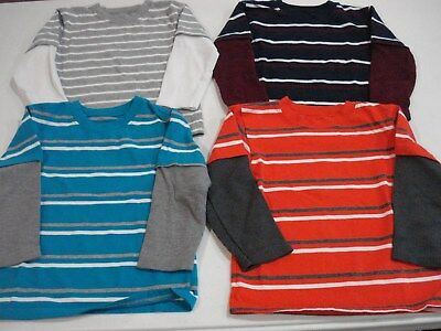 Toddler Boys Size 3T Long Sleeve Shirts Lot of 4 Stripes