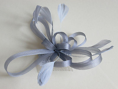 NEW Silver grey coiled net and feather comb fascinator wedding races ascot prom