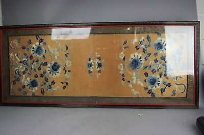 18th-19th C. Chinese Framed Embroidery : Floral
