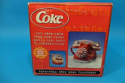 New VINTAGE RETRO COCA-COLA SNOW DOME PHONE ORIGINAL IN BOX