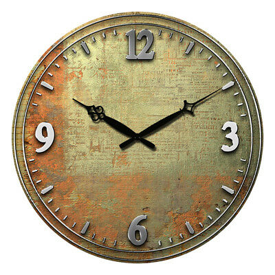 Round Wooden Wall Clock 38cm Watch Silence Antique Design Home Rooms Decor Large