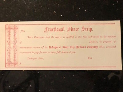 "Antique Unissued Dubuque & Sioux City Railroad ""Fractional Share Scrip"": 1860's"