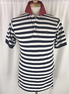Polo Ralph Lauren Vintage Mens Polo Shirt Size M Striped Blue White Made in USA