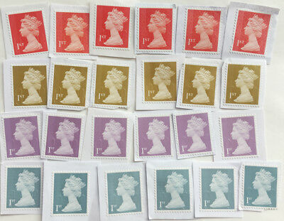 100 x 1st Class GB Security Unfranked Stamps On PaperNo Gum