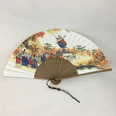 Korean Traditional Hand Fan Bamboo With Box And Stand Beautiful Art