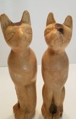 Vintage Wooden Pairs Cat Handmade Art Wood Carved Figurine Home Decor Gift 9""