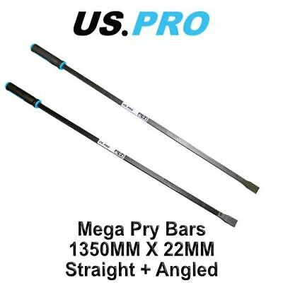 "US PRO 53"" / 1350mm x 22mm Straight + Angled Pry Bar Wrecking Heavy Duty"
