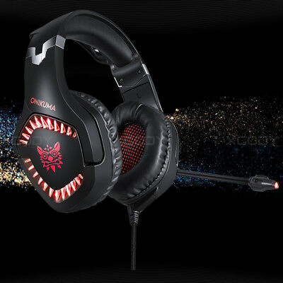 ONIKUMA 3.5 mm Gaming Headset MIC LED Kopfhörer für PC Mac Laptop PS4 Xbox one