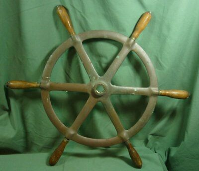 Brass Ship's Wheel with Wood Handles Vintage Nautical 18K017