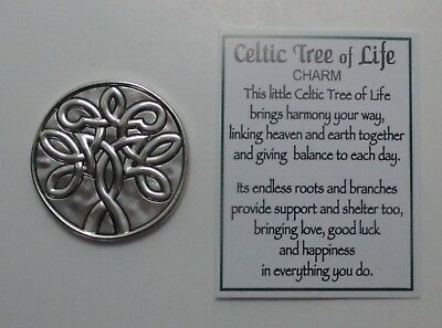 A CELTIC TREE OF LIFE POCKET CHARM Token Irish Ganz link heaven earth family