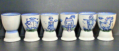 M. A. Hadley BLUE EGG CUPS Pottery Stoneware LOT