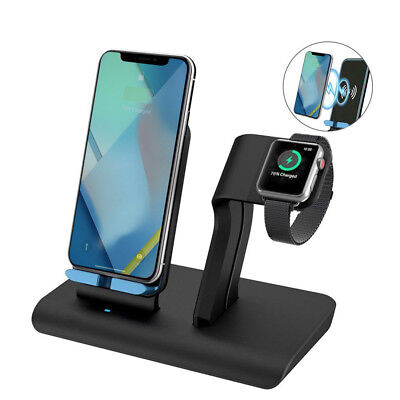 2in1 Qi Wireless Charger Fast Charging Dock Stand Station For Watch/ iPhone 8 XR